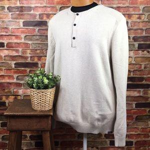 Eddie Bauer Sweater Cream Crew Neck w/ 3 Buttons